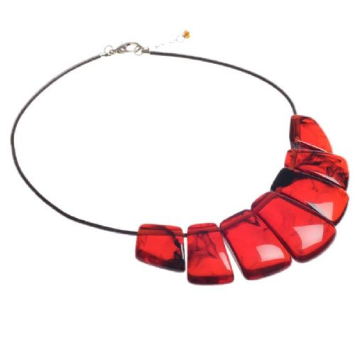 Jackie Brazil Bella Necklace on Leather Cord In Tortoise